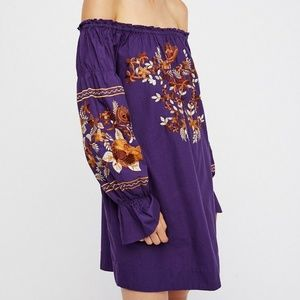 Free People Embroidered Off Shoulder Dress S